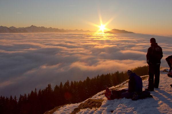 Sonnenuntergang am Hörnle im Winter