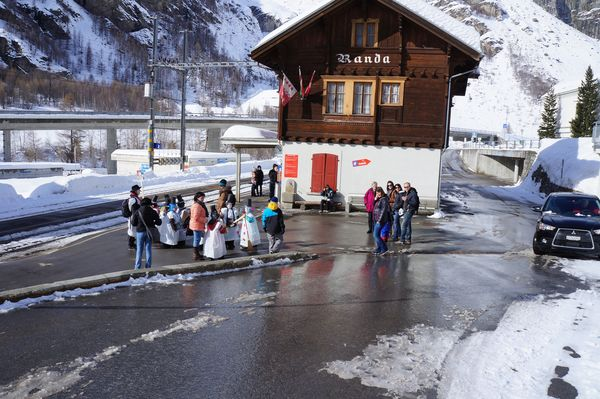 Randa station: trains of the Matterhorn Gotthard Bahn railway carry visitors and commuters to Zermatt and Visp.