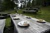 Sur les pâturages entourant la fromagerie, des tables et des bancs de bois rustiques sont à disposition... et invitent à faire une halte!
