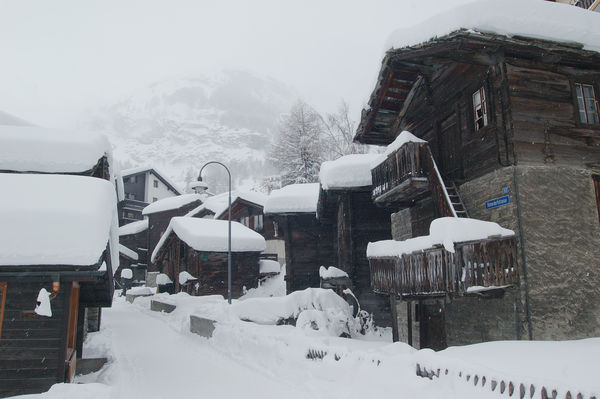 Typically for Zermatt's Old Village, the small buildings huddle closely together.
