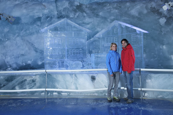 On display in the glacier palace: Zermatt houses of ice, as if out of a fairy tale.