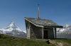Riffelberg chapel: modern architecture and dramatic views of the mountains around Zermatt.