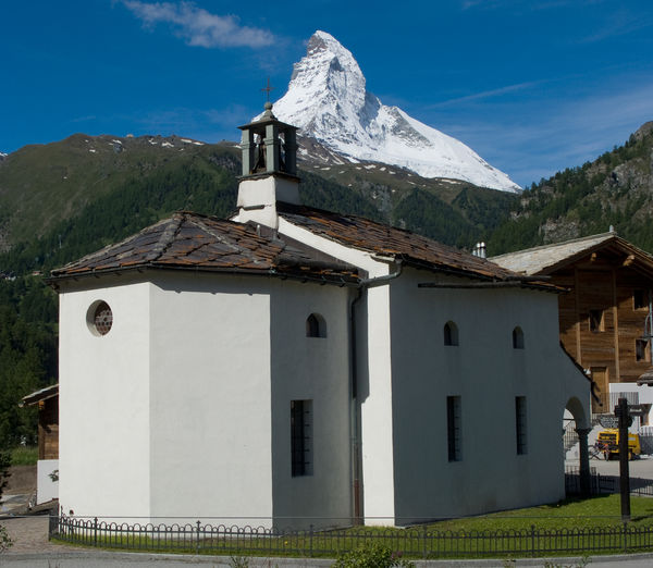 At Winkelmatten in Zermatt, the Matterhorn is visible from an unusual perspective.