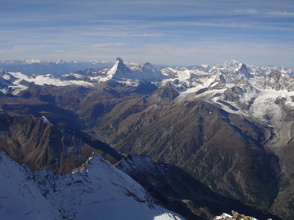 The Matterhorn seen from a helicopter. View of the Matter valley and the north and east faces of the Matterhorn.