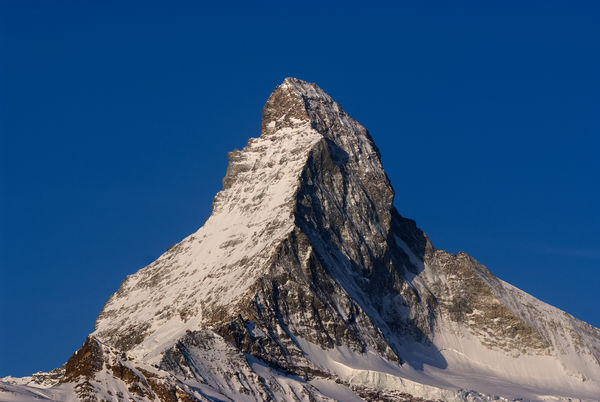 The Matterhorn in the mild light of winter. The light conditions change every moment.