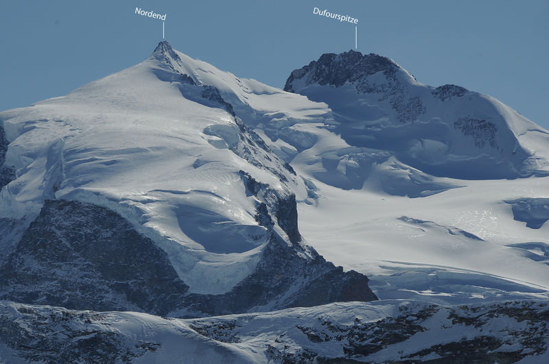 The Nordend (left) is a distinctive peak rising from the Monte Rosa massif.