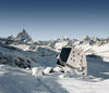 Popular ski touring refuge near Zermatt: the Monte Rosa hut (SAC), high above the Gorner Glacier.