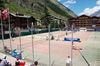 Tennis courts in the centre of Zermatt: the Obere Matten sports and leisure area.