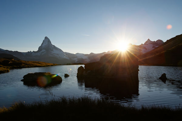 Romantic: sunset at the Stellisee lake above Zermatt.