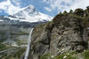 The Arbenbach falls, in sight of the mighty north face of the Matterhorn.