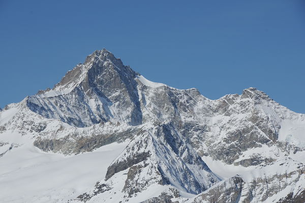 One of the finest rock climbs in the Zermatt region: the Zinalrothorn, seen here in winter.