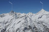 Almost neighbours: the Zinalrothorn (left) and the Weisshorn (far right).