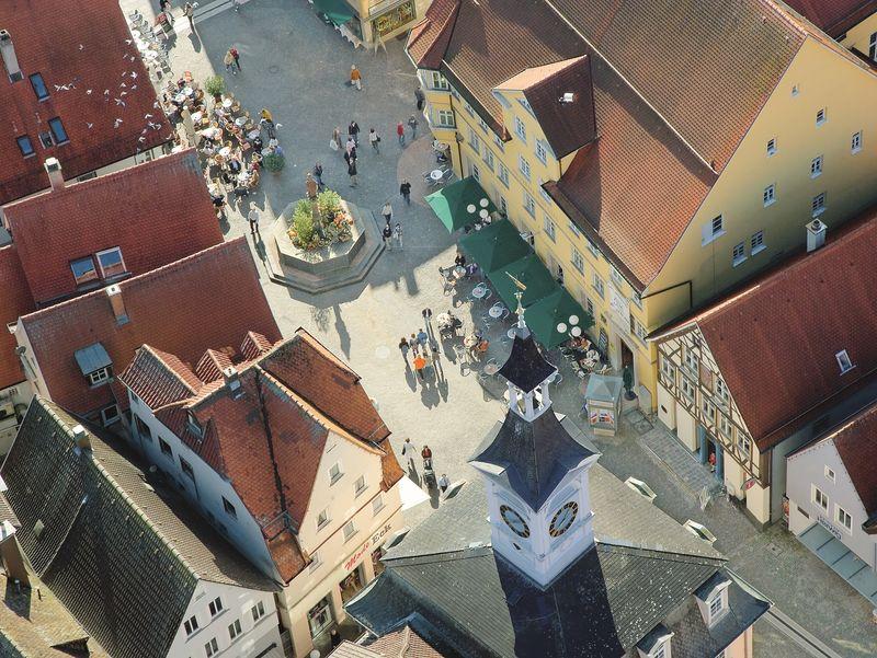 Der Aalener Marktplatz von oben