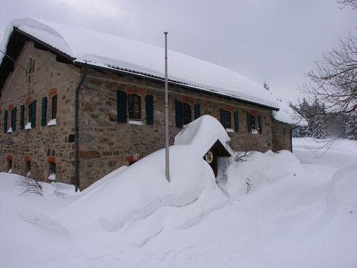 Blick auf das tief verschneite Forsthaus Ödwies bei Achslach