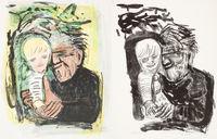 Otto Dix, Selbstbildnis mit Marcella, 1968, links: Farblithografie,  rechts: Schwarzweiß-Lithografie, Stiftung Sammlung Walther Groz