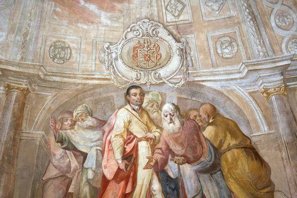 malerische Deckenansicht von Abt Joseph in der Kirche St. Joseph in Allershausen