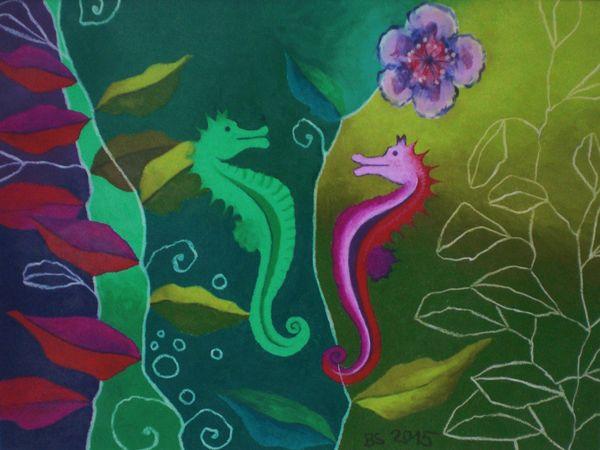 farbenfrohes phantasivolles Ölkreidebild mit Seepferdchen, Foto: Barbara Störmer