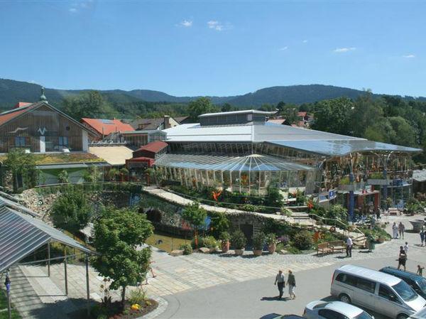 Blick auf das Glasdorf Weinfurtner in Arnbruck