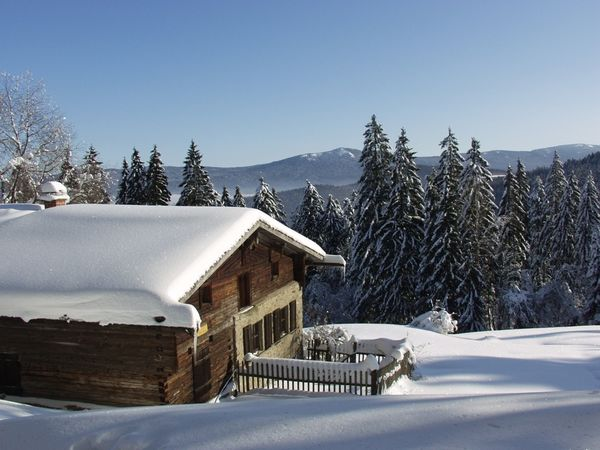 Verschneite Berghütte an der Riedelsteinloipe im Bayerischen Wald