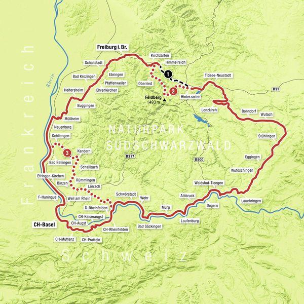 Südschwarzwald Karte.Südschwarzwald Radweg Südschwarzwald Radweg
