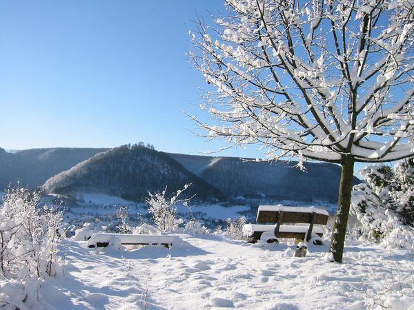Blick auf den Burgberg in Bad Ditzenbach im Winter