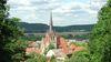 Blick aus dem Schlossgarten auf den Altstadtkern von Bad Freienwalde, Foto: Reinhard Schmook