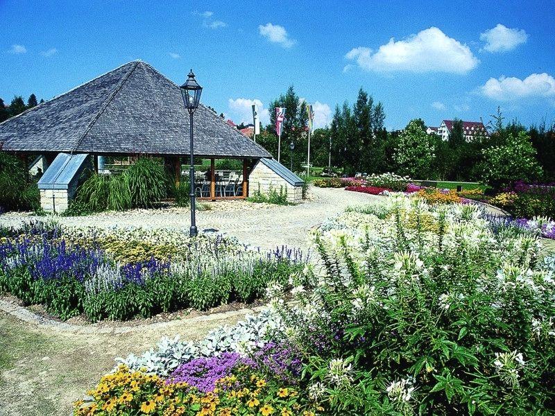 Blick über farbenprächtige Pflanzen auf den Freizeitpavillon im Kurpark Bad Kötzting