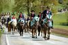 Prächtig geschmückte Pferde beim Kötztinger Pfingstritt im Naturpark Oberer Bayerischer Wald
