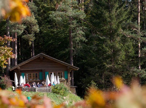 Die Blockhütte ist schön am Waldrand gelegen.