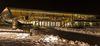 Außenansicht der Stadthalle Balingen, nachts, verschneit