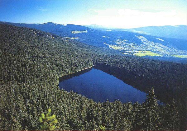 Blick auf den Čertovo jezero (Teufelssee) bei Železná Ruda im Böhmerwald