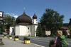 Blick auf die Pfarrkirche, Wahrzeichen von Železná Ruda im Böhmerwald