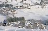 Traumhafte Winterlandschaft. Liftfahrer am Skigebiet Köpfle in Bernau, Ortsteil Innerlehen