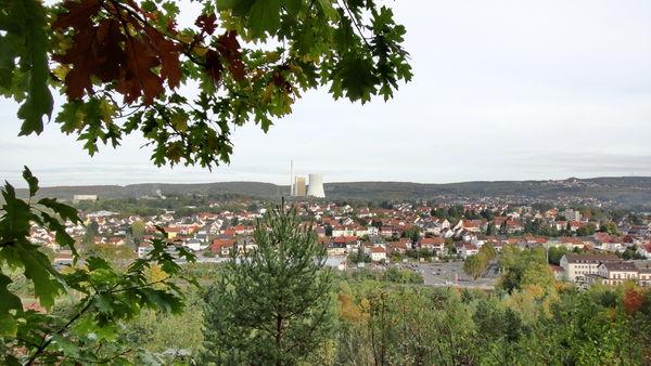 Blick vom Monte Barbara auf Bexbach mit Kraftwerk