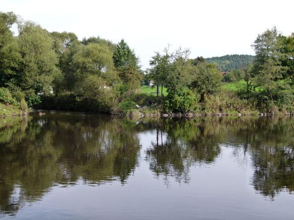 Bei Blaibach entsteht durch den Zusammenfluß von Weißem und Schwarzem Regen der Fluß Regen