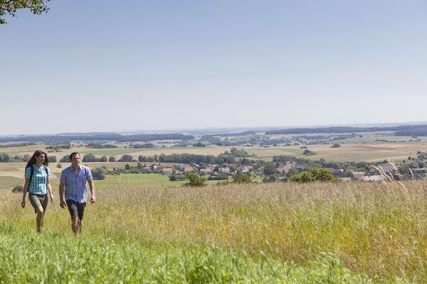 Wanderer genießen den schönen Ausblick von der Ruine Alexanderturm in den Bliesgau, Blieskastel