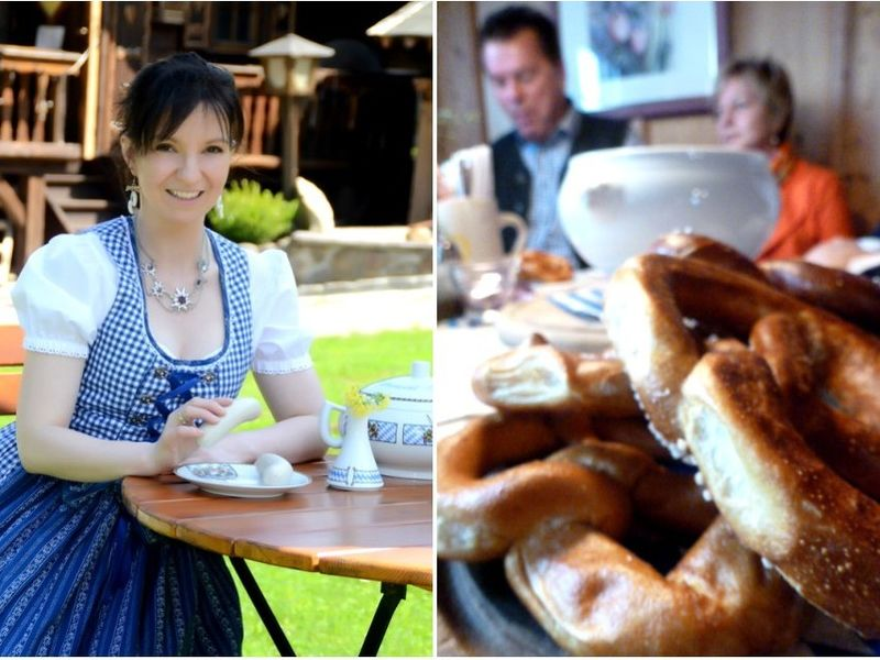 Weißwurst-Genuß und dazu eine Breze gehört zur bayerischen Gemütlichkeit