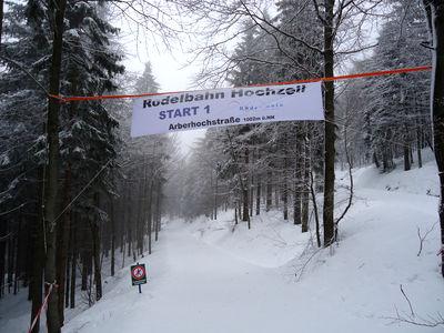 Start bei der Waldrodelbahn Hochzell in Bodenmais