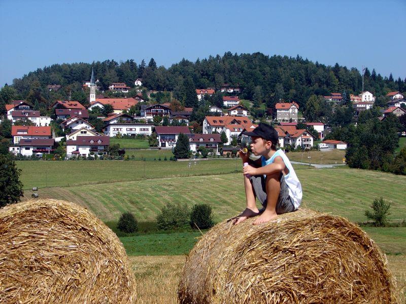 Junge auf Strohballen mit Sicht auf Büchlberg
