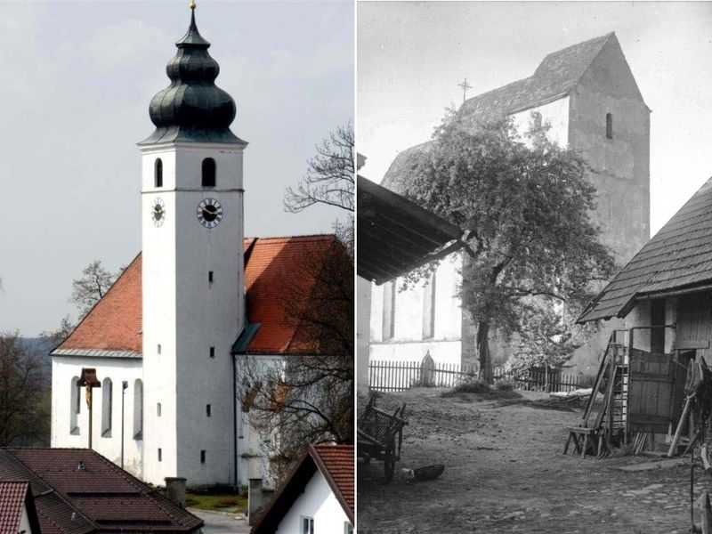 Die Frauenbergkirche Hengersberg (links) und die Schachinger Kirche um ca. 1920 (rechts)