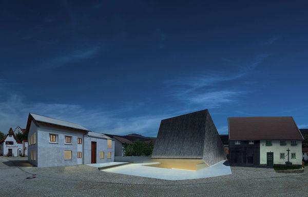 Blick auf das Konzerthaus in Blaibach bei Nacht - Entwurf des Architekten Peter Haimerl