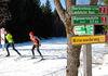 Langläufer am Wegweiser bei Greising im Langlaufgebiet Rusel-Oberbreitenau