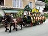 Prächtig geschmücktes Pferdegespann mit Brauereiwagen bei der Drachselsrieder Kirwa