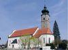 Blick auf die Kath. Pfarrkirche St. Ägidius in Drachselsried