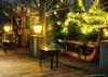 Urgemütliche Glühbierhütte auf der Terrasse der BrauereiWirtschaft in Ehingen-Berg
