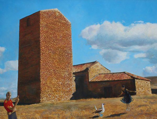 Bild Tagträumer in Soria (Mischtechnik/Leinwand 2012), Foto Matthias Steier