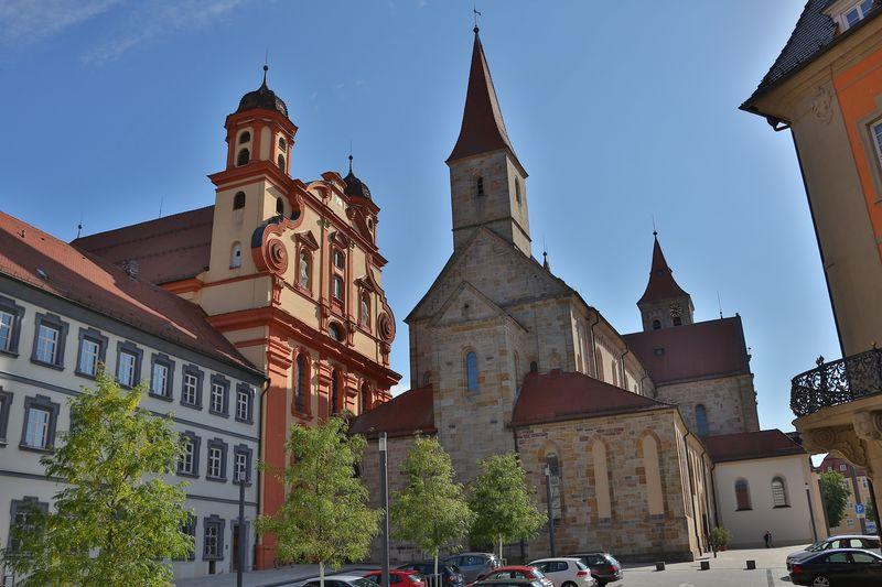 Ellwangen_Zusammenbau ev. Kirche und Basilika von Westen