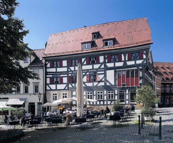 Eines der Fachwerkbauten der ältesten Fachwerkhäuserzeile Deutschlands in Esslingen am Neckar