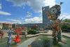 Der Brunnenplatz, im Hintergrund der Oderturm, Foto: terra press Berlin