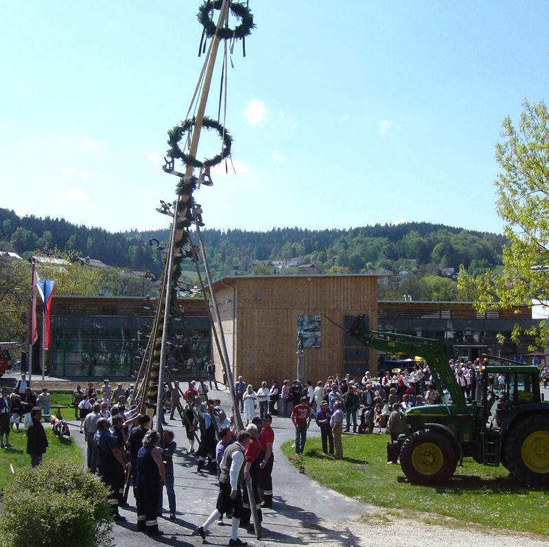 Maibaumaufstellen im Park vor dem Glasmuseum in Frauenau